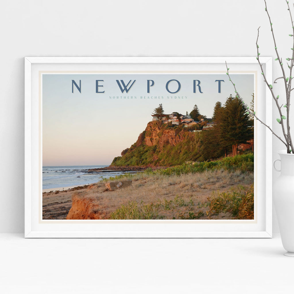 Newport vintage travel style poster by places we luv