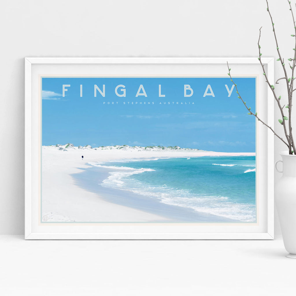Fingal bay vintage travel style print by places we luv in white frame