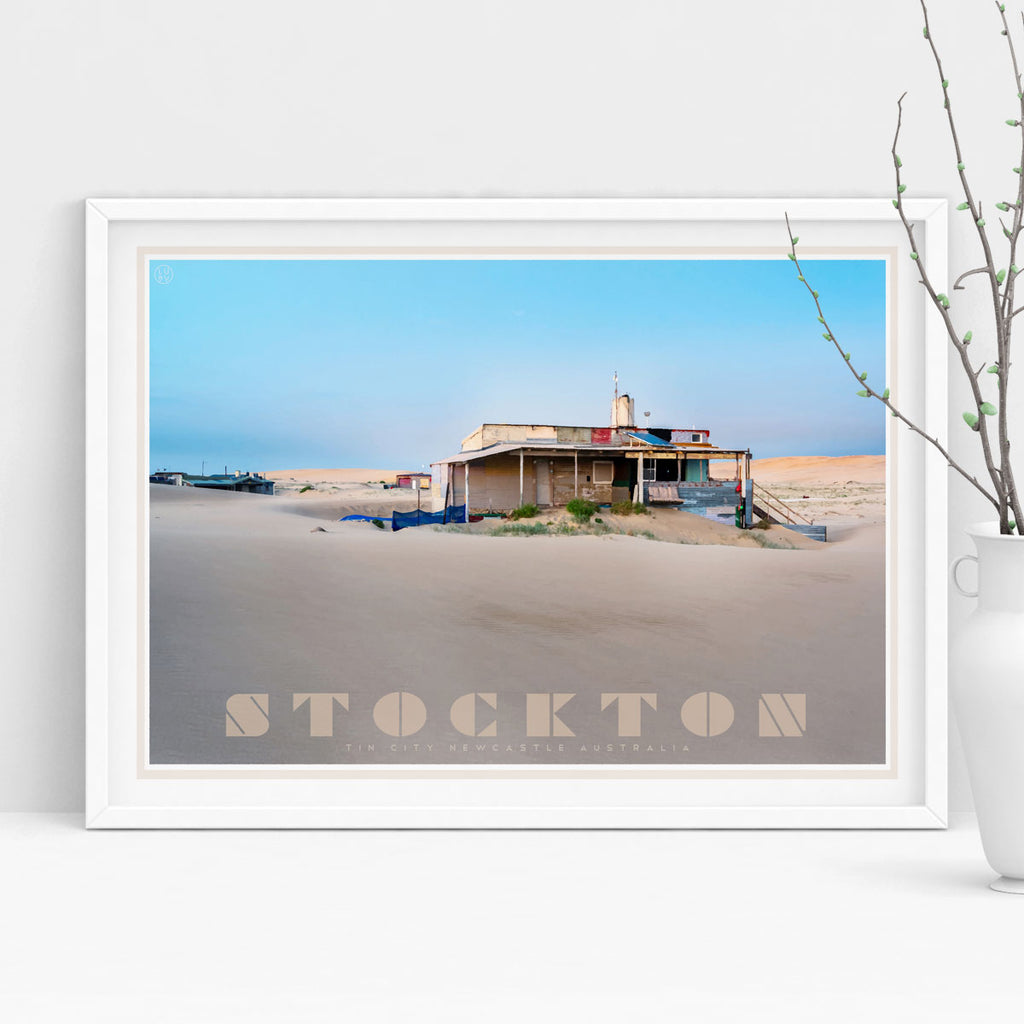 Stockton- tin city - vintage travel style framed print by places we luv