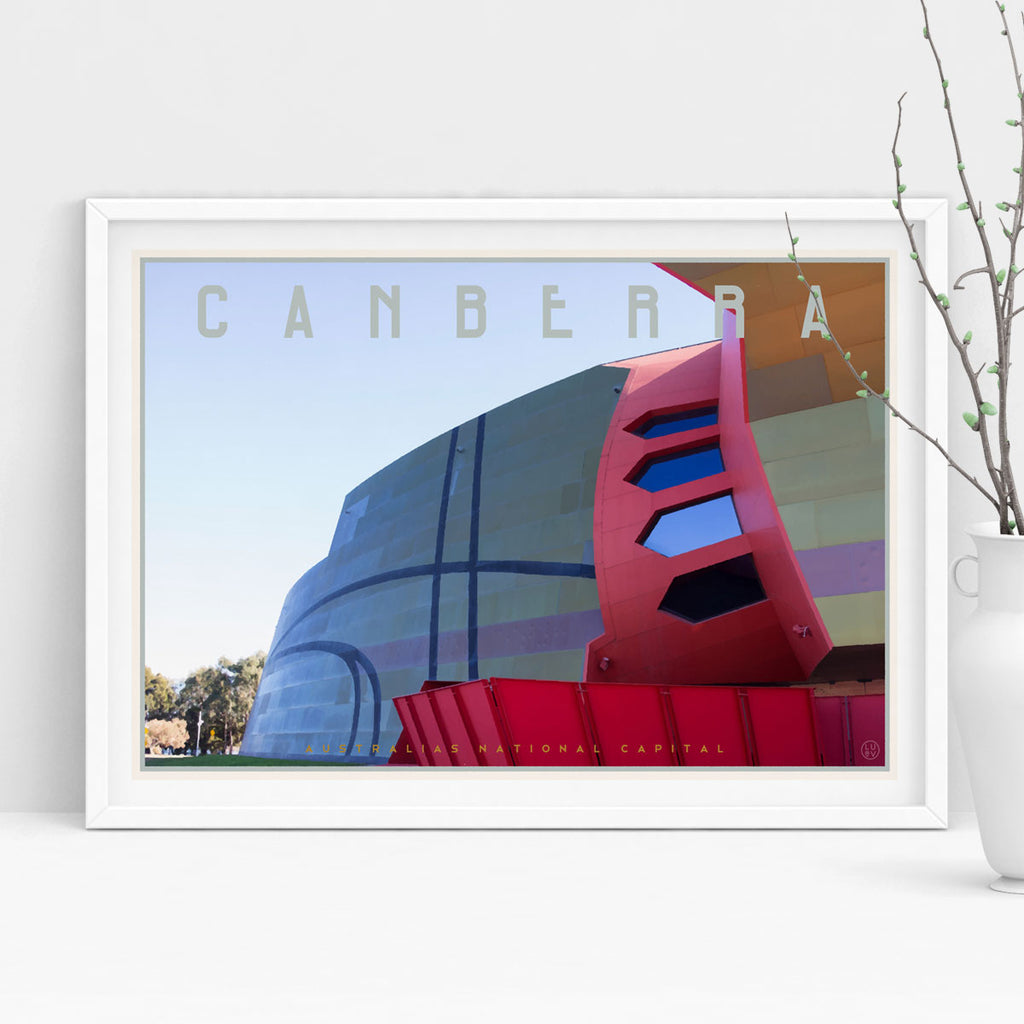 The National Museum of Australia Canberra travel print by places we luv
