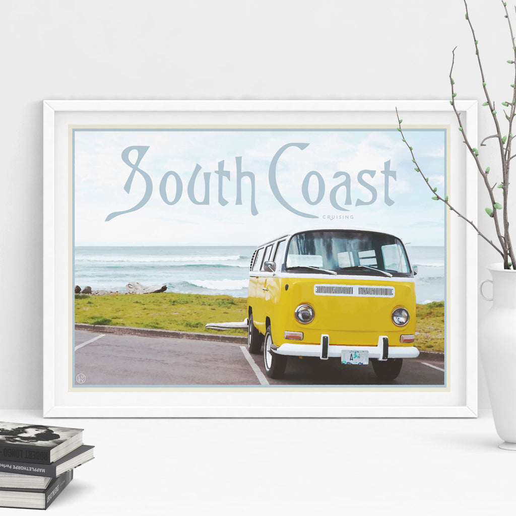 Places We Luv South Coast art print in white frame