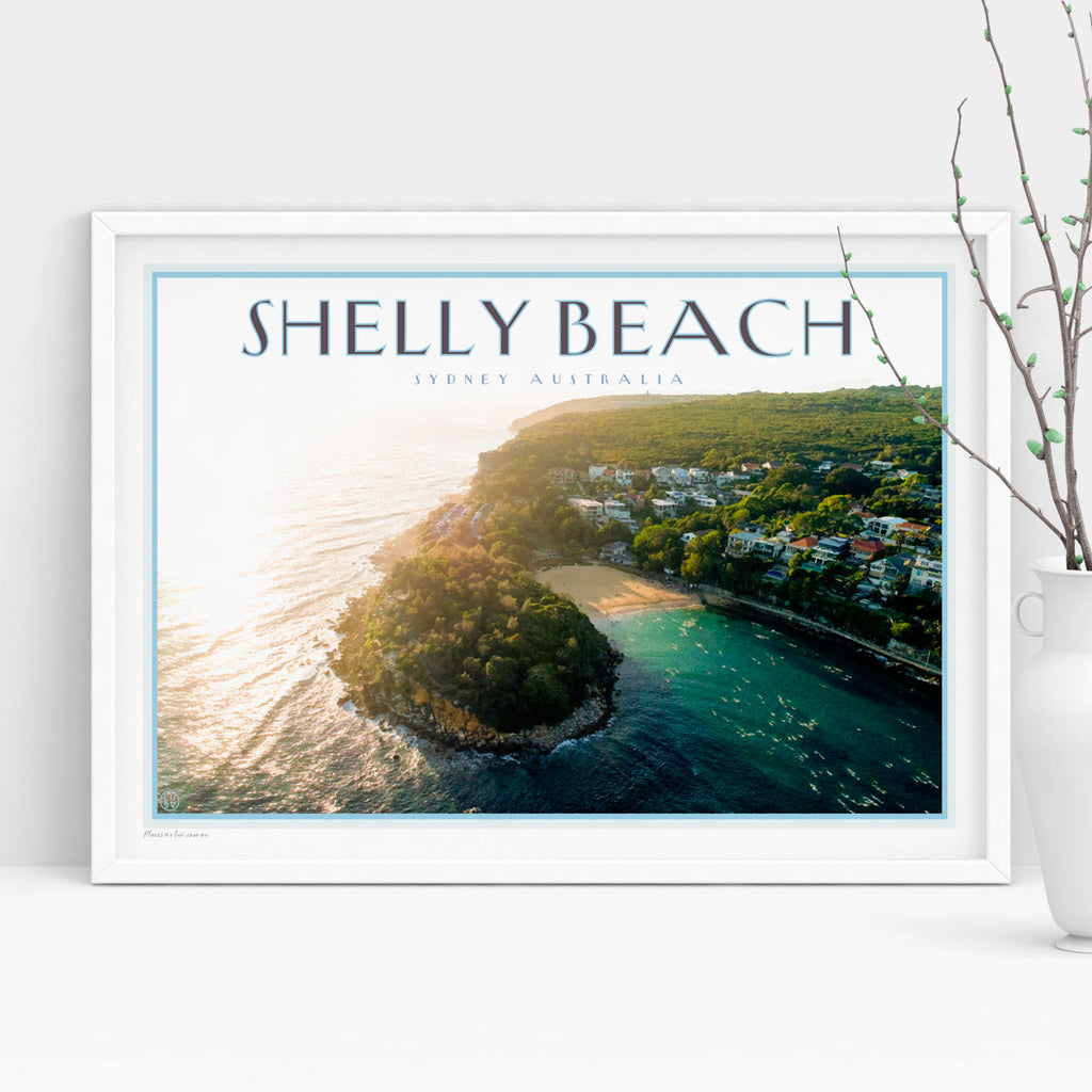 Shelly Beach vintage travel poster by Places We Luv