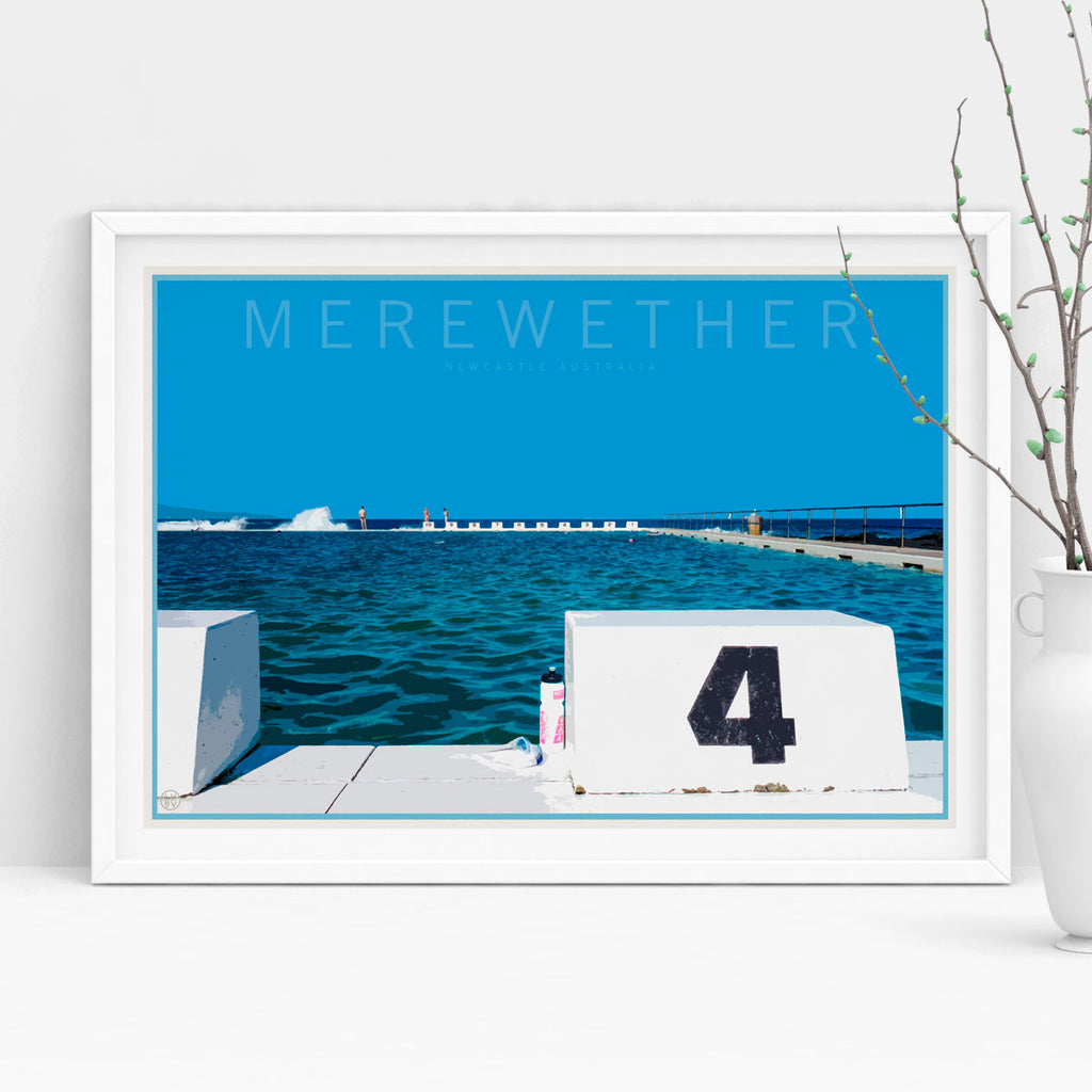 Merewether travel vintage style poster by places we luv