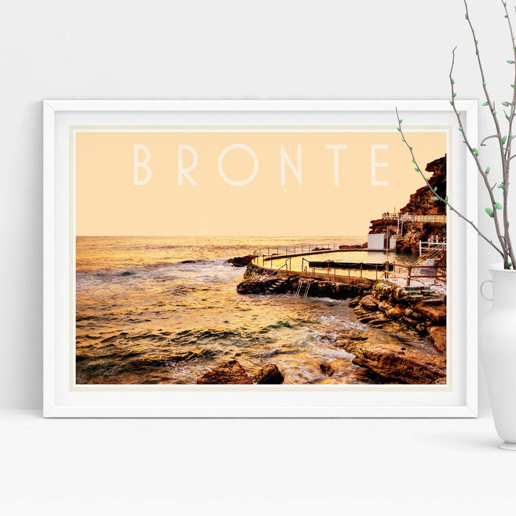 Places we luv - Bronte pool vintage travel style white framed print