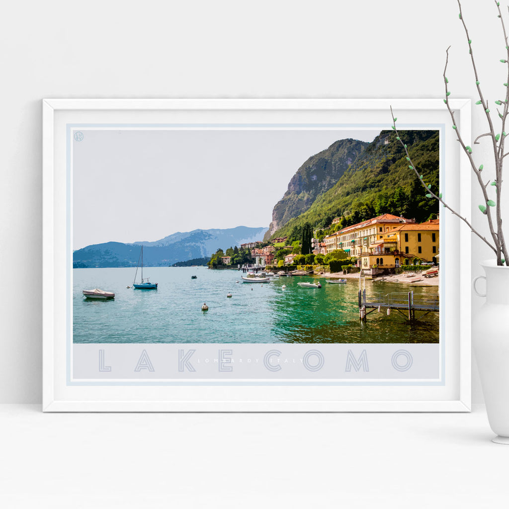 Lake Como Italy vintage travel style white framed print by places we luv