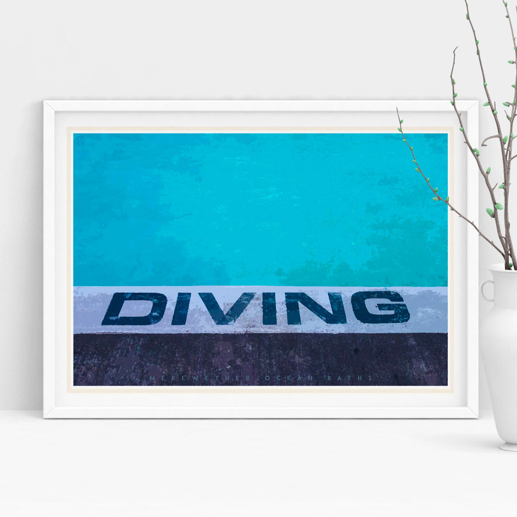 Diving Merewether pool vintage travel print by places we luv