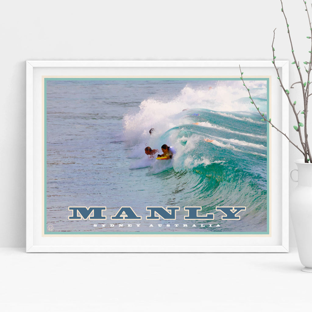 Vintage travel style art prints, wall art, manly northern beaches, Places We Luv