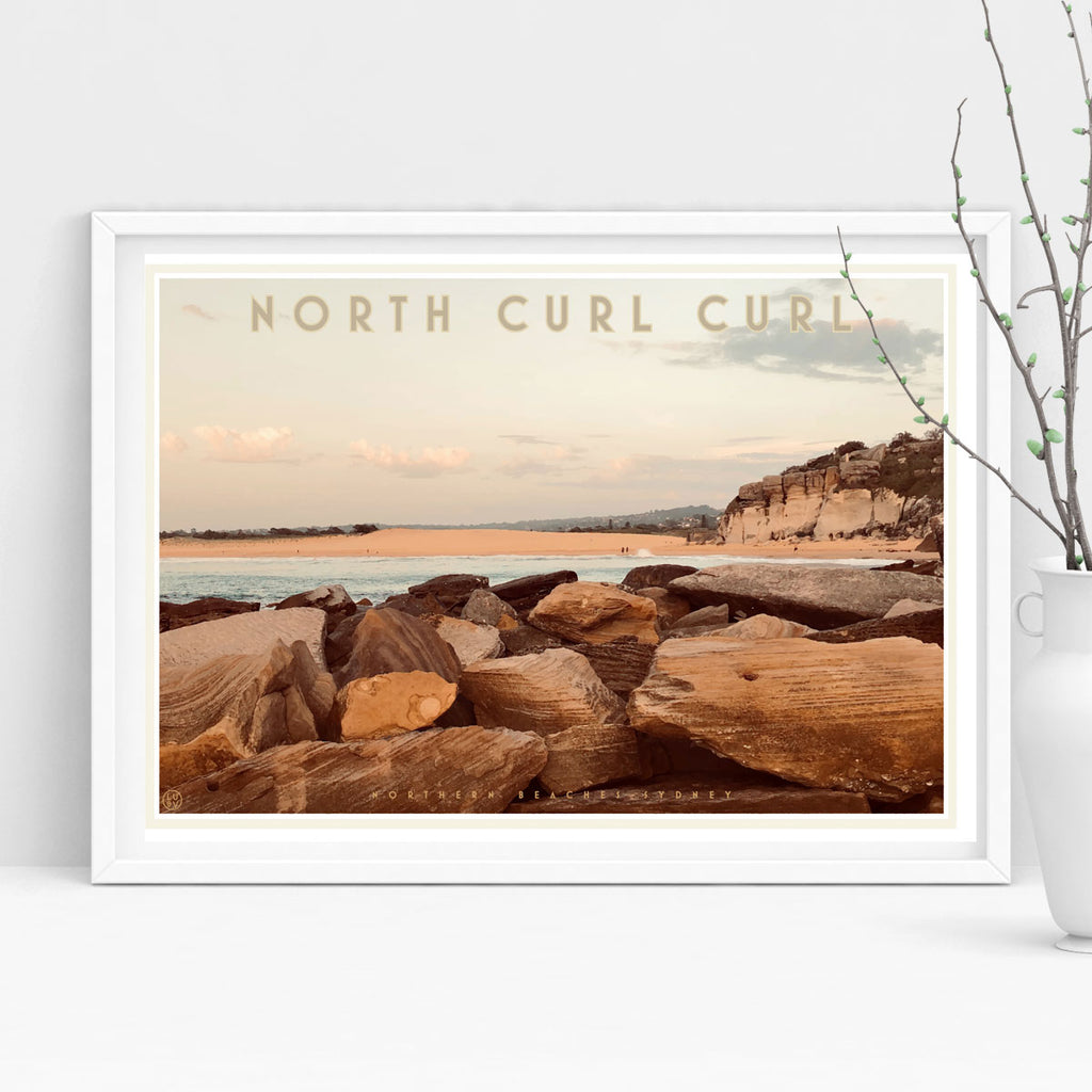Curl Curl North Two - vintage style travel poster by places we luv