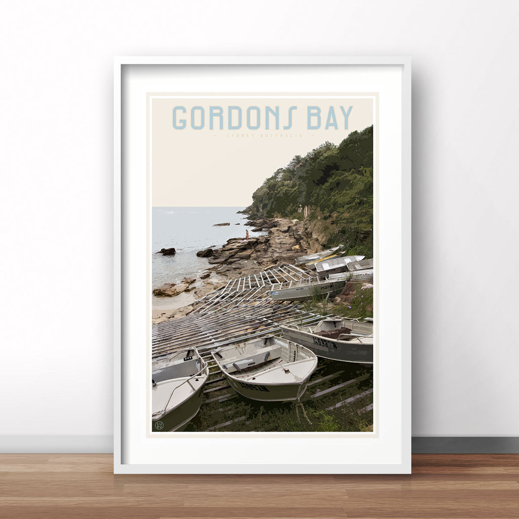 Gordons Bay vintage travel style art print by Places We Luv
