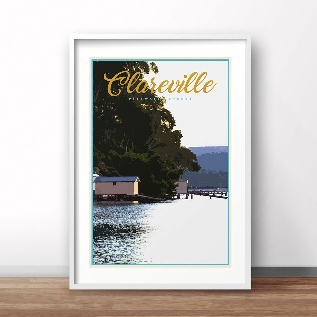 Clareville vintage travel style framed print by places we luv