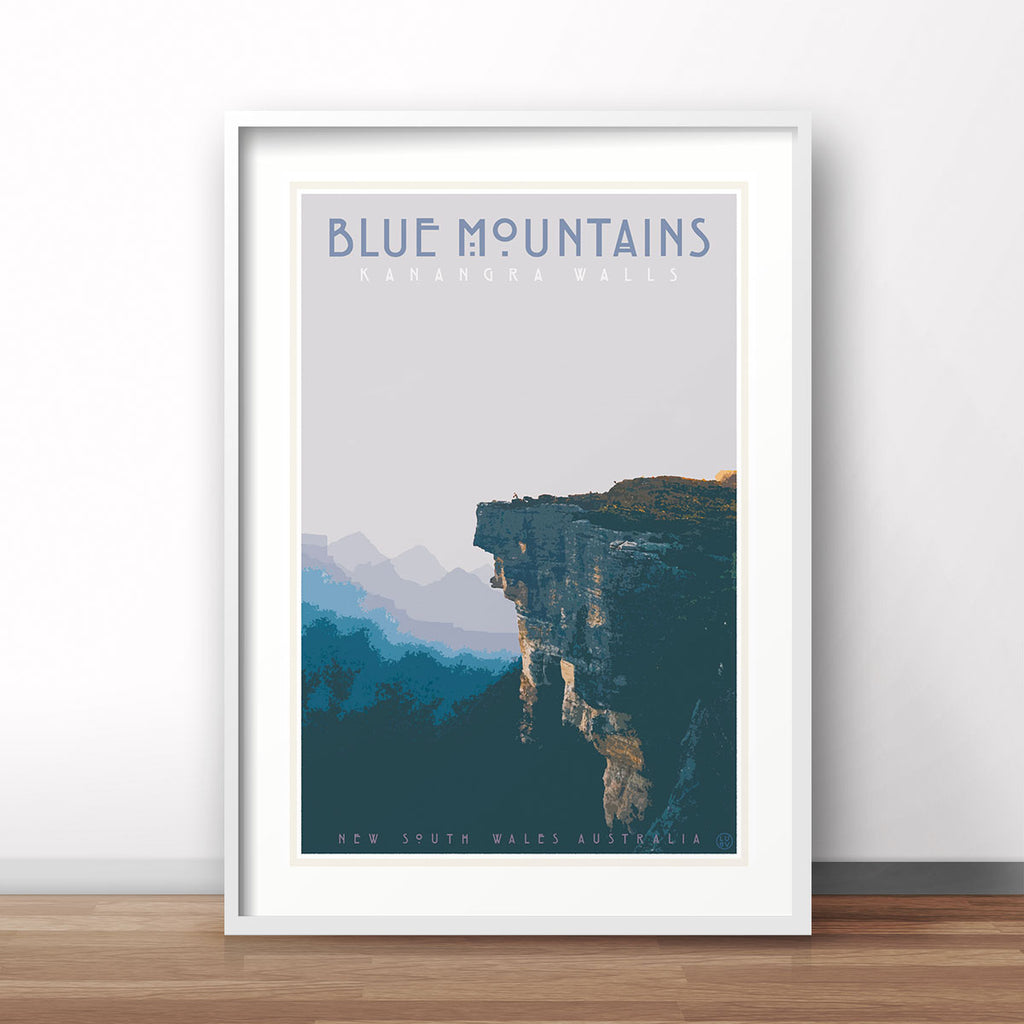 Blue Mountains vintage travel style framed art print by Places We Luv