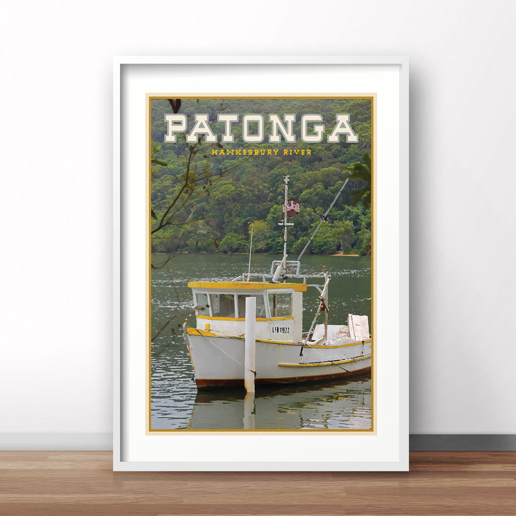 Patonga vintage travel style white framed print by places we luv