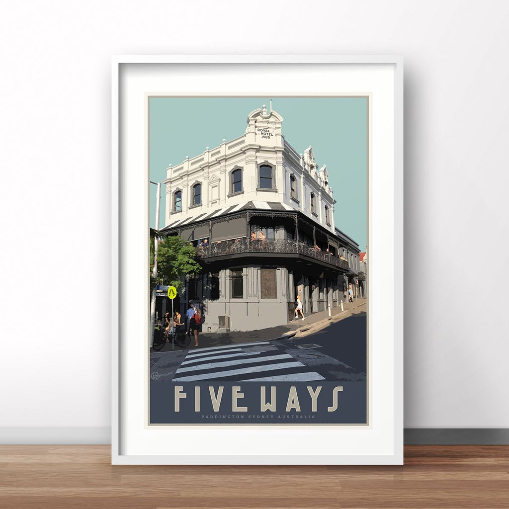 Paddington Five Ways vintage travel style poster, affordable wall art prints, Places We Luv