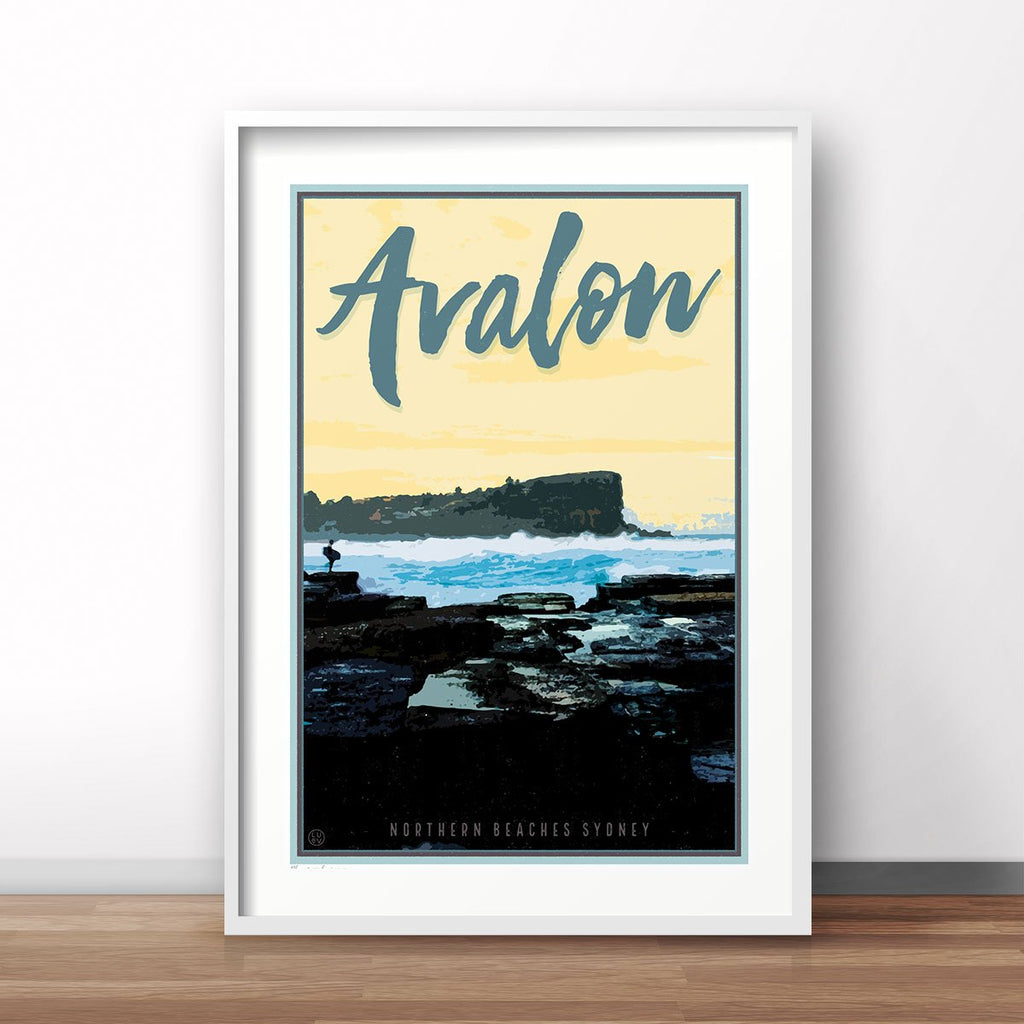 Avalon Beach print in white frame by Placesweluv - vintage travel style print
