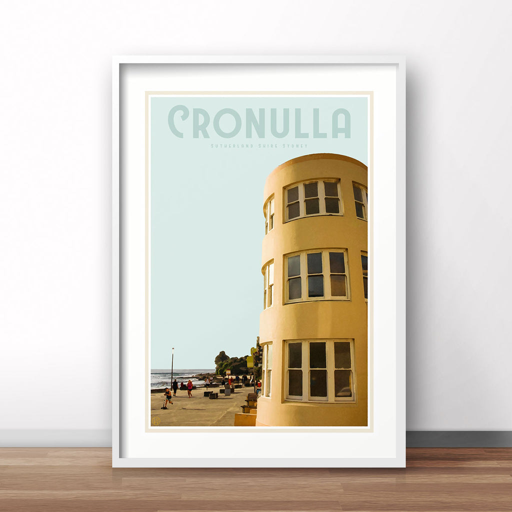 Cronulla surfclub vintage travel style poster by places we luv
