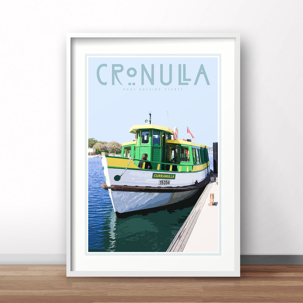 Cronulla ferry vintage style travel print, stylists favourite, designed by places we luv