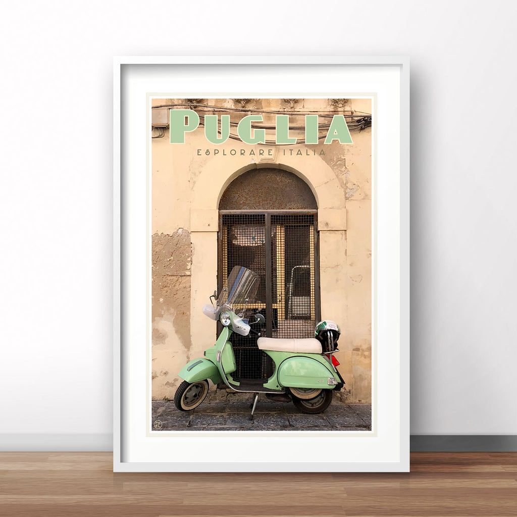 Puglia Italy vintage travel style poster by places we luv