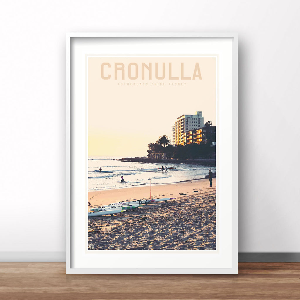 Cronulla Beach vintage style travel print designed by places we luv
