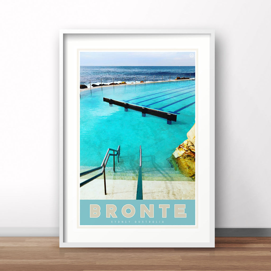 Bronte blue pool vintage travel style print by places we luv