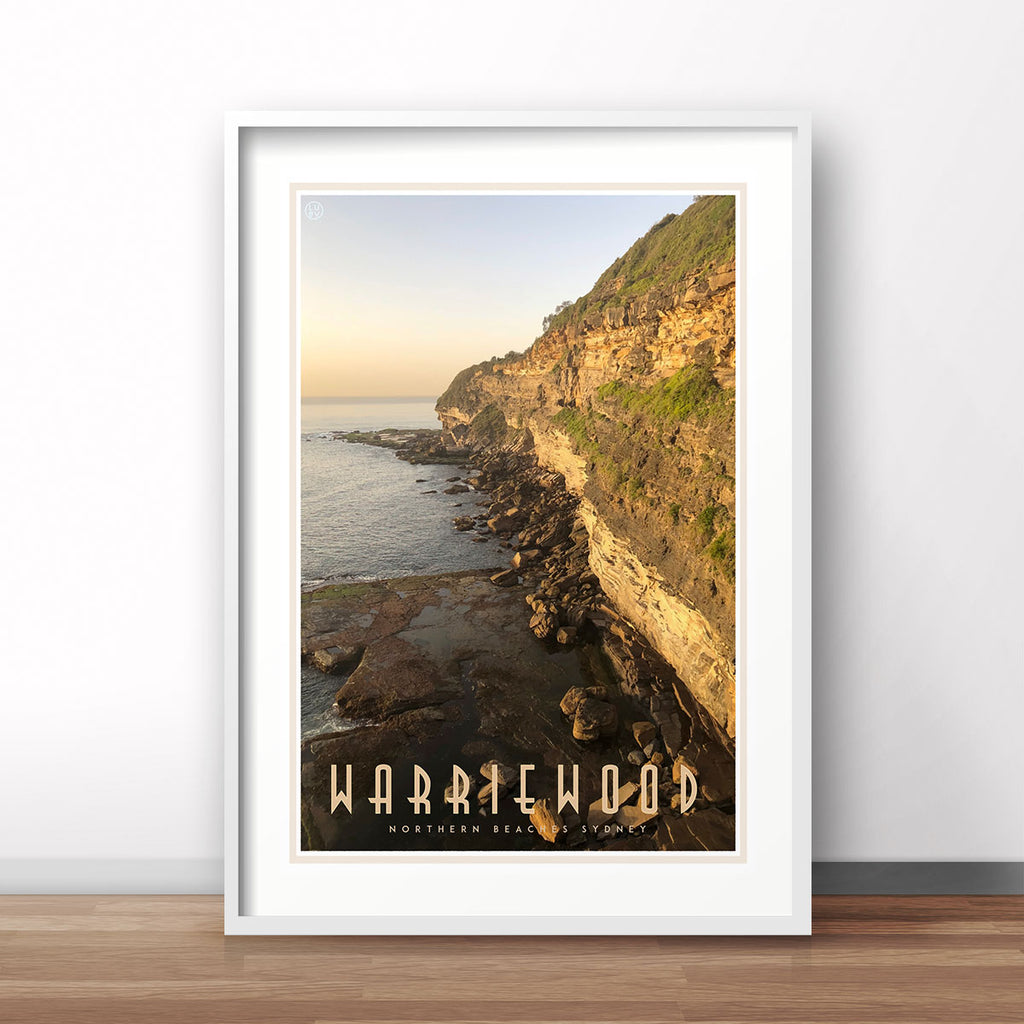 Warriewood Beach vintage travel style print by Places we luv
