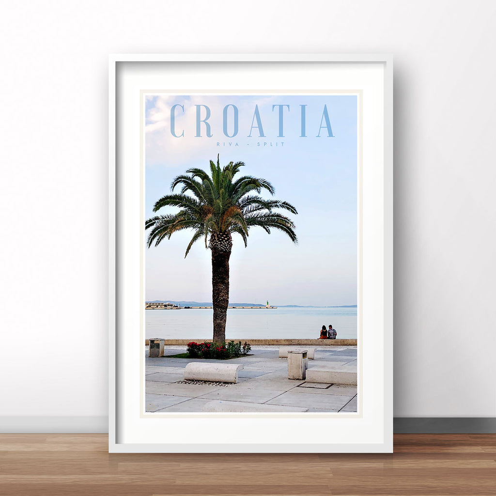 Split Croatia vintage travel style print by places we luv