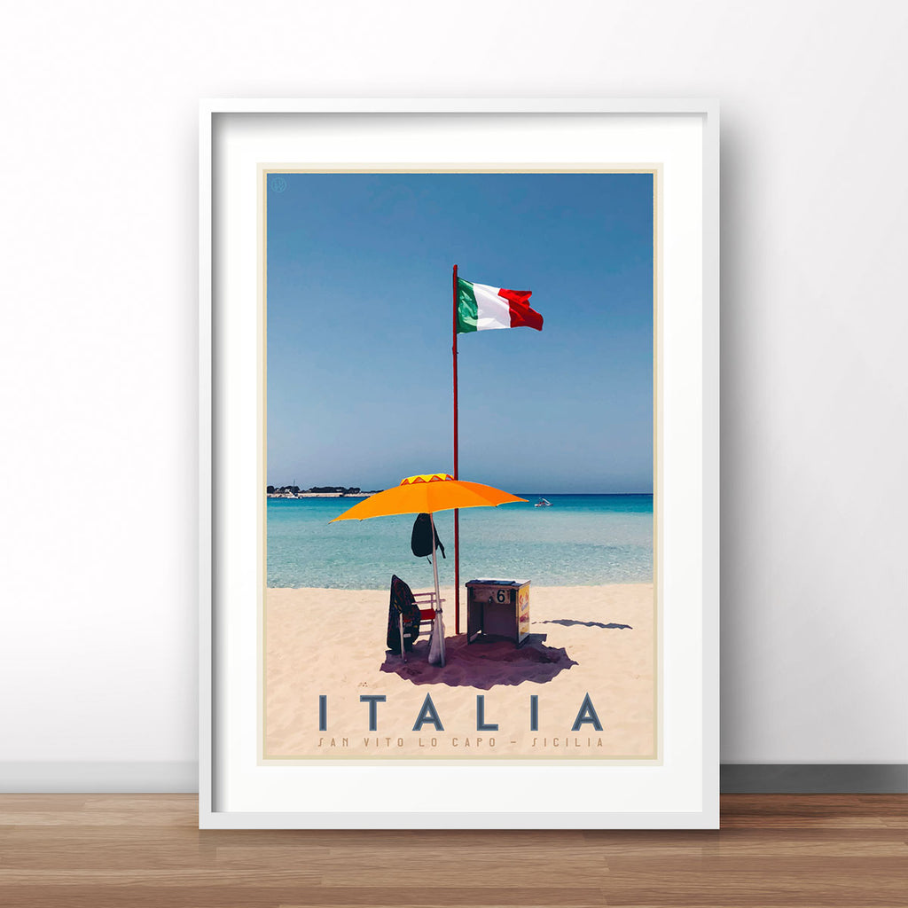 Italy beach vintage travel style poster by placesweluv
