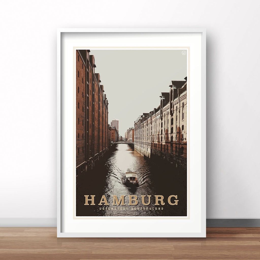 Hamburg vintage travel style white framed print by places we luv