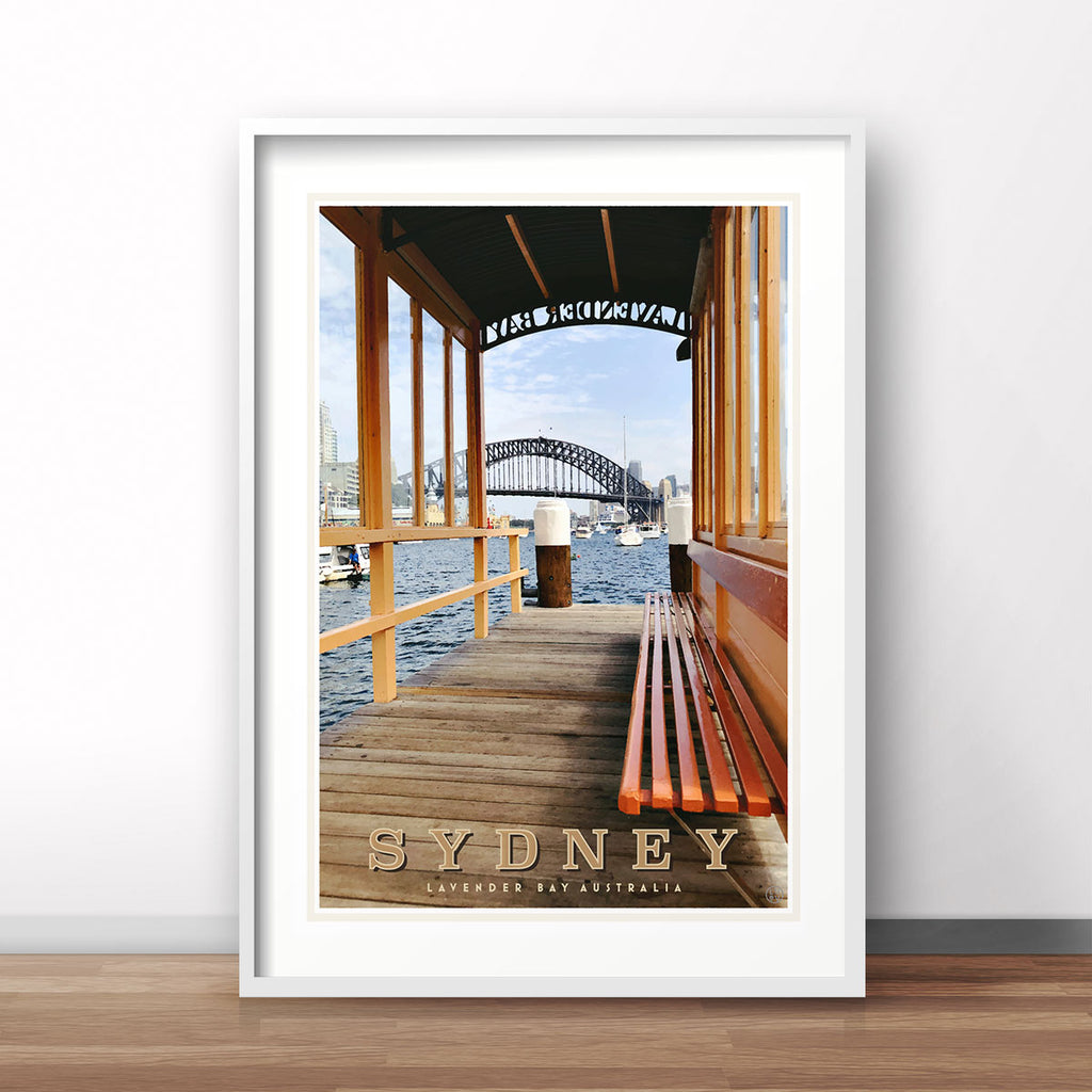 Sydney Lavender Bay vintage style travel poster by places we luv
