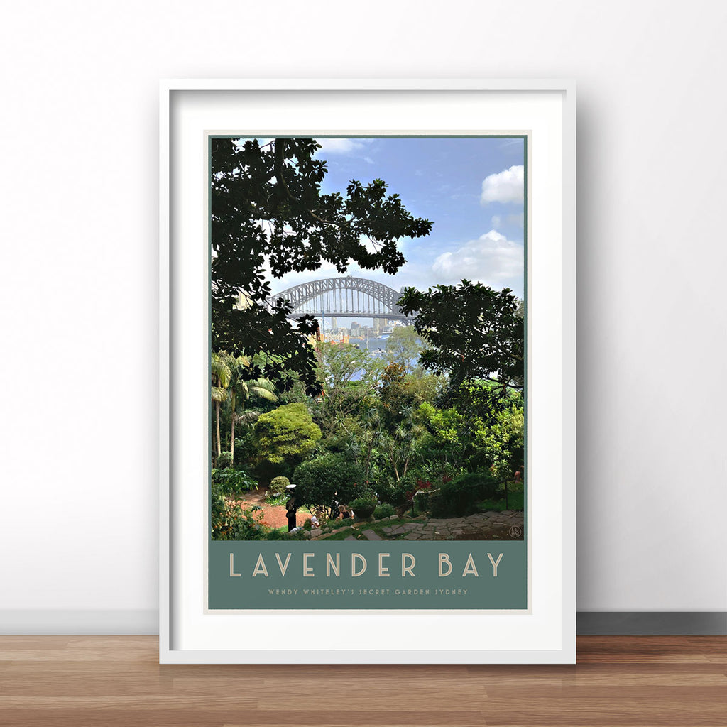 Lavender Bay vintage style travel white framed print by places we luv