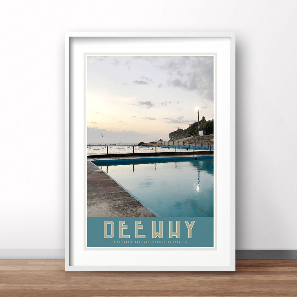 Dee Why Pool, vintage style travel white framed poster by places we luv
