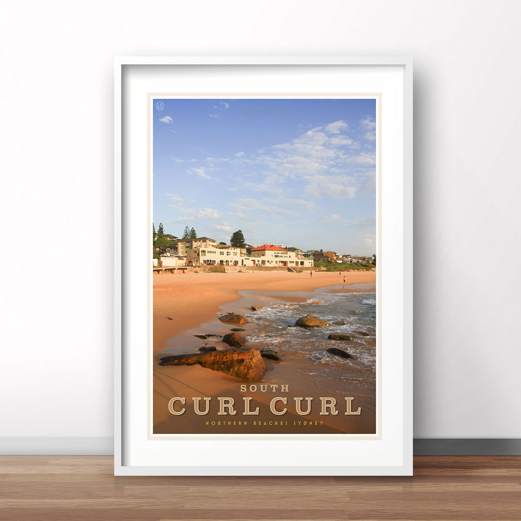 Curl Curl South vintage style travel white framed poster by places we luv