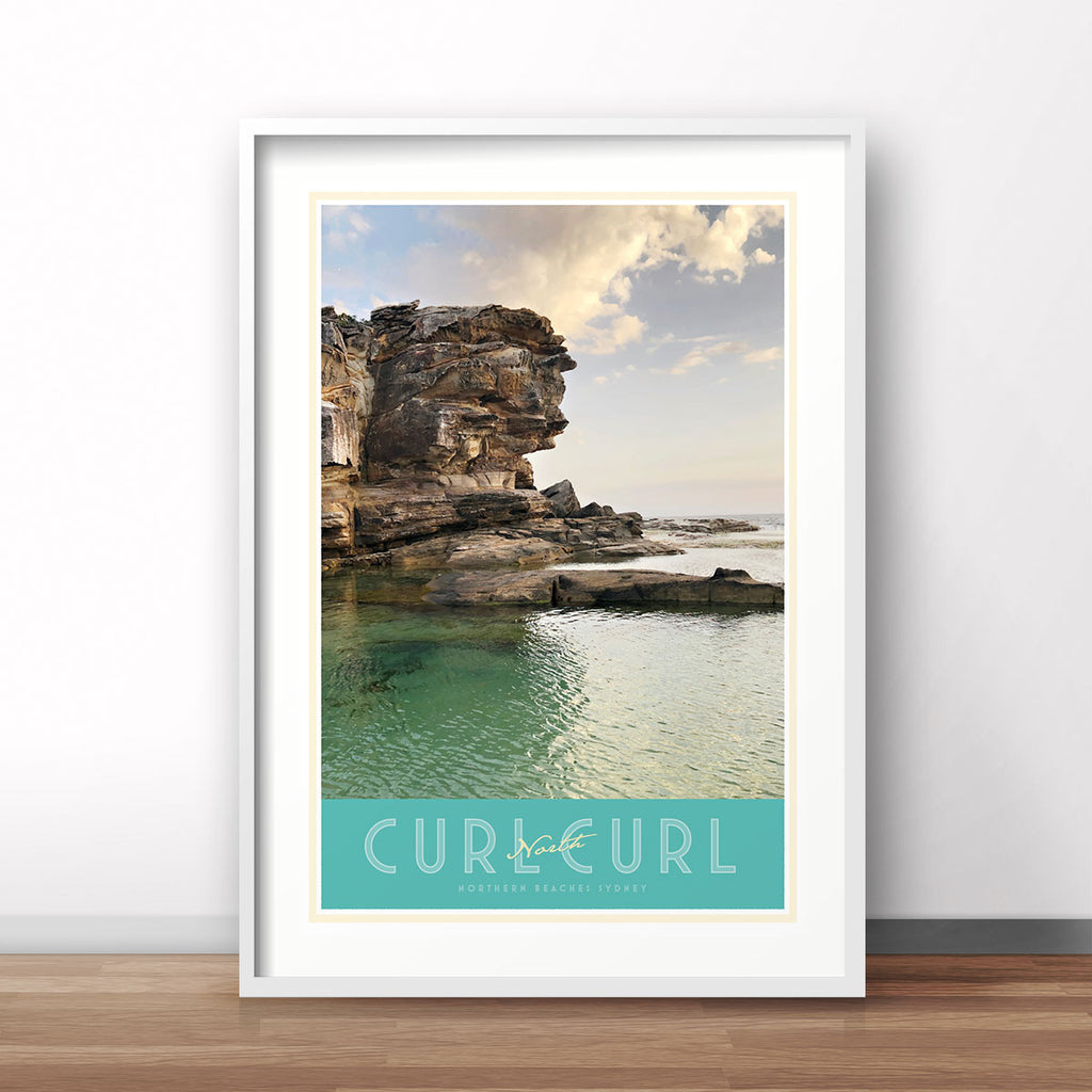 North Curl Curl Pool vintage travel style poster by places we luv