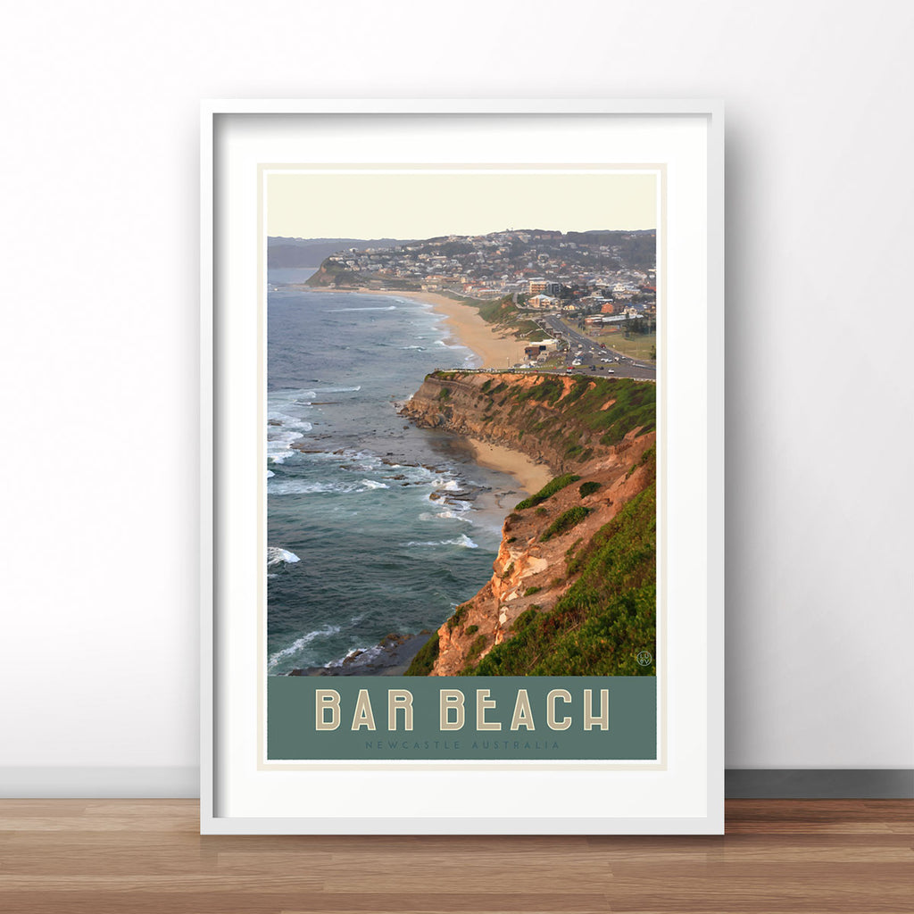 Newcastles Bar Beach travel style poster original design by placesweluv