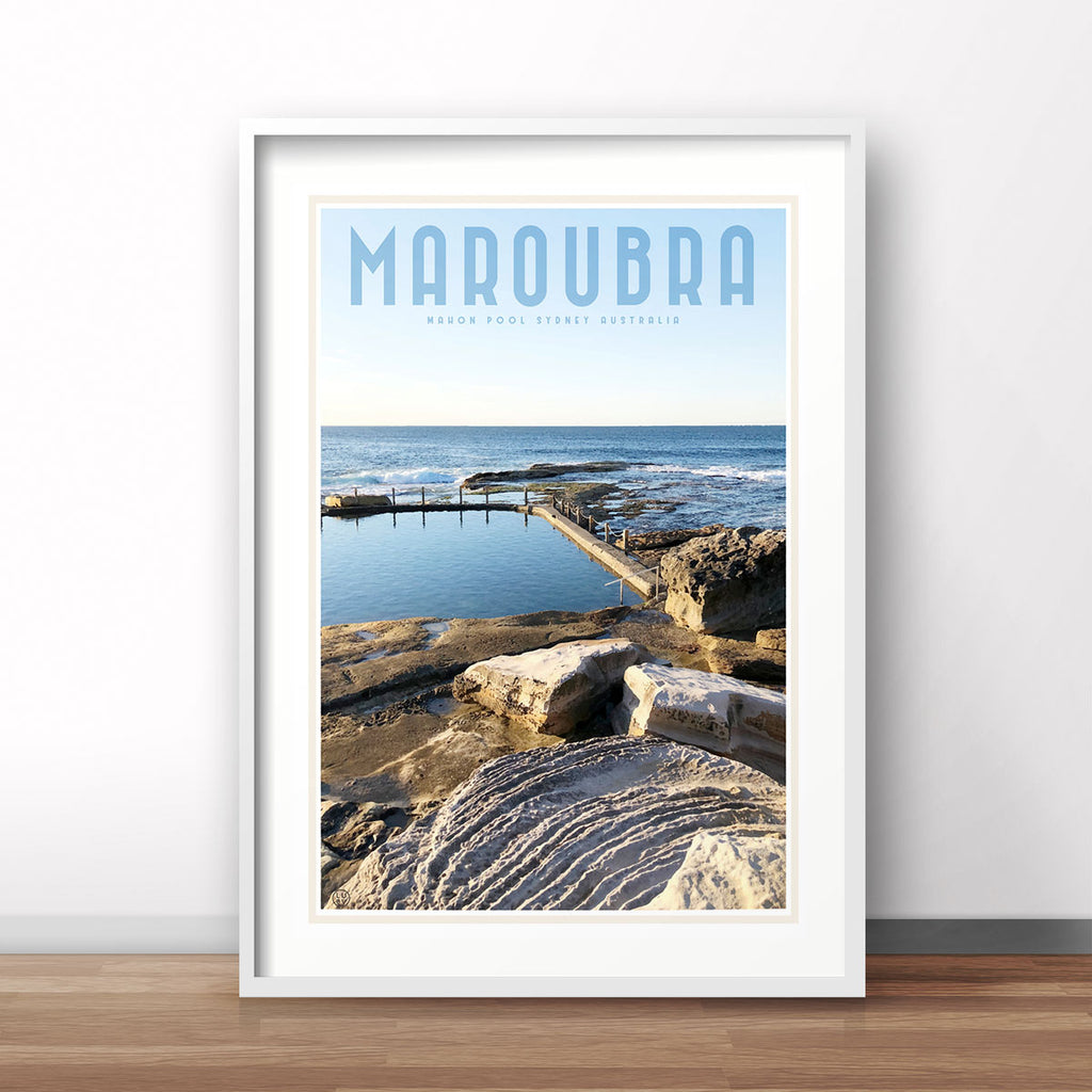 Maroubra Mahon Pool vintage style travel print by places we luv