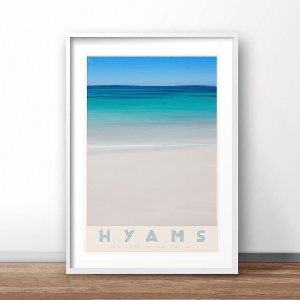Hyams Beach print. Vintage travel style. original design by places we luv