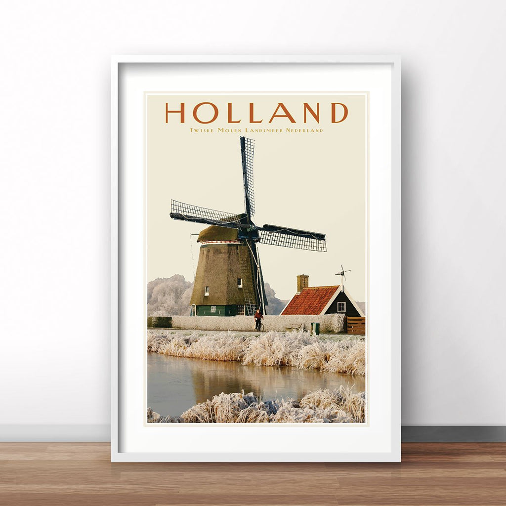 North Holland Windmill print. Vintage travel style poster. Original design by places we luv