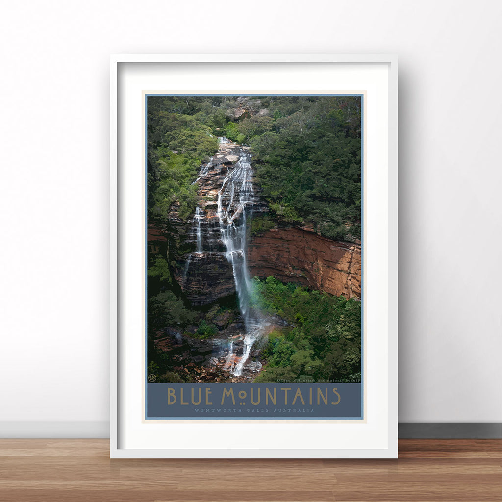 Blue Mountains Wentworth Falls vintage travel style 40 x 30 framed art print by Places We Luv