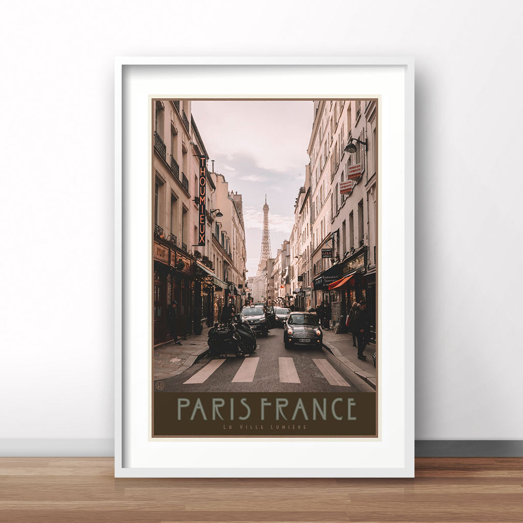 Paris City white framed print vintage travel style by Places We Luv