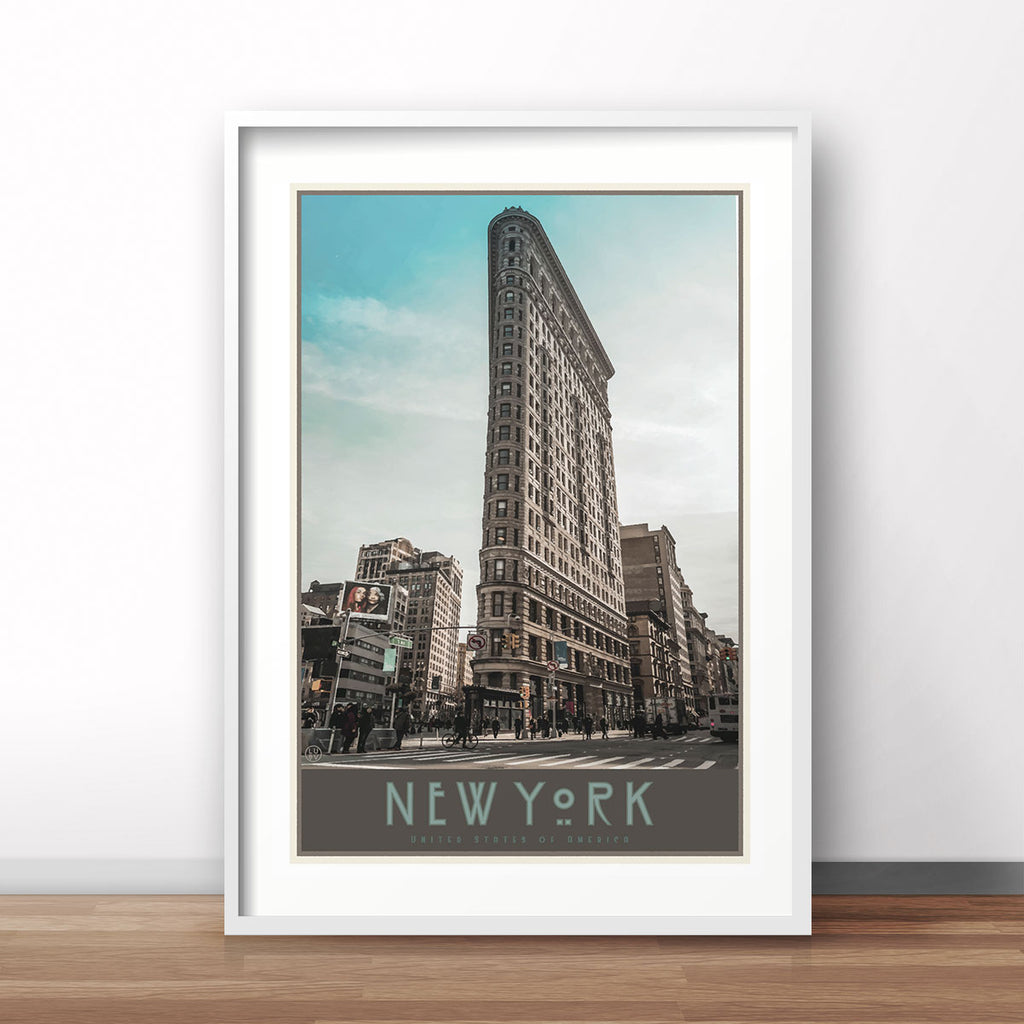 New York Flatiron framed print vintage travel style designed by Places We Luv