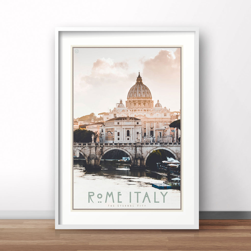 Rome Italy vintage travel style white framed print by places we luv
