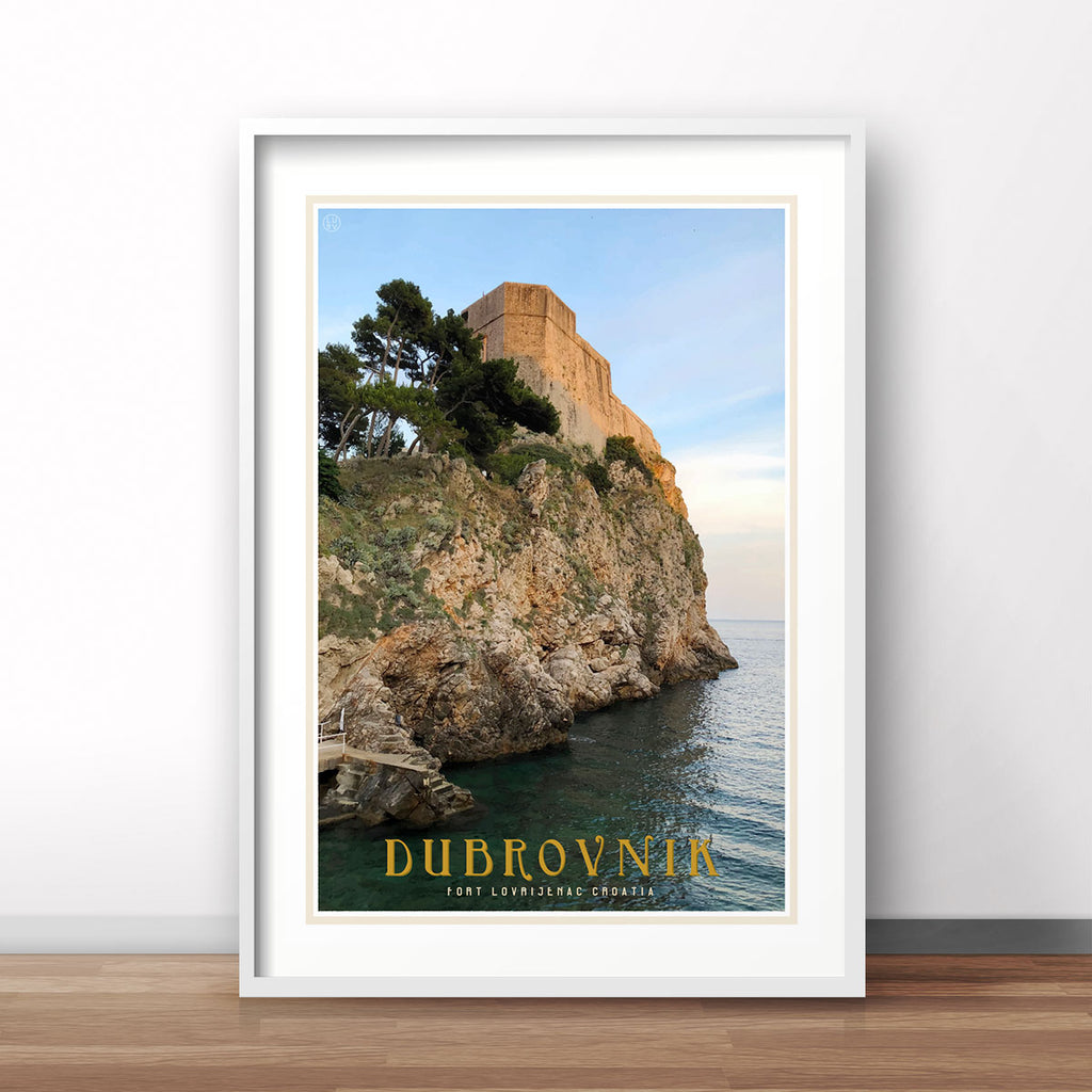 Dubrovnik vintage travel style white framed print by places we luv