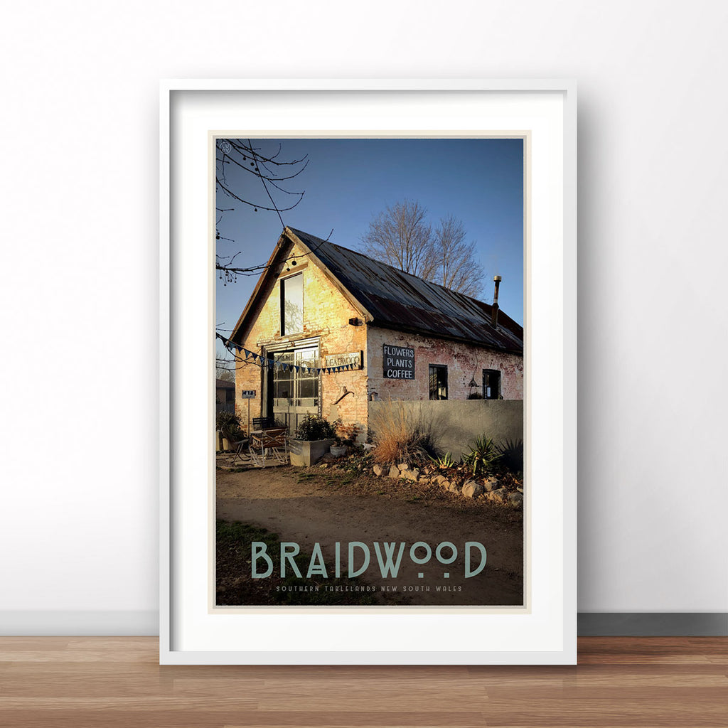 Braidwood cafe white framed vintage travel style poster. Original design by Places We Luv