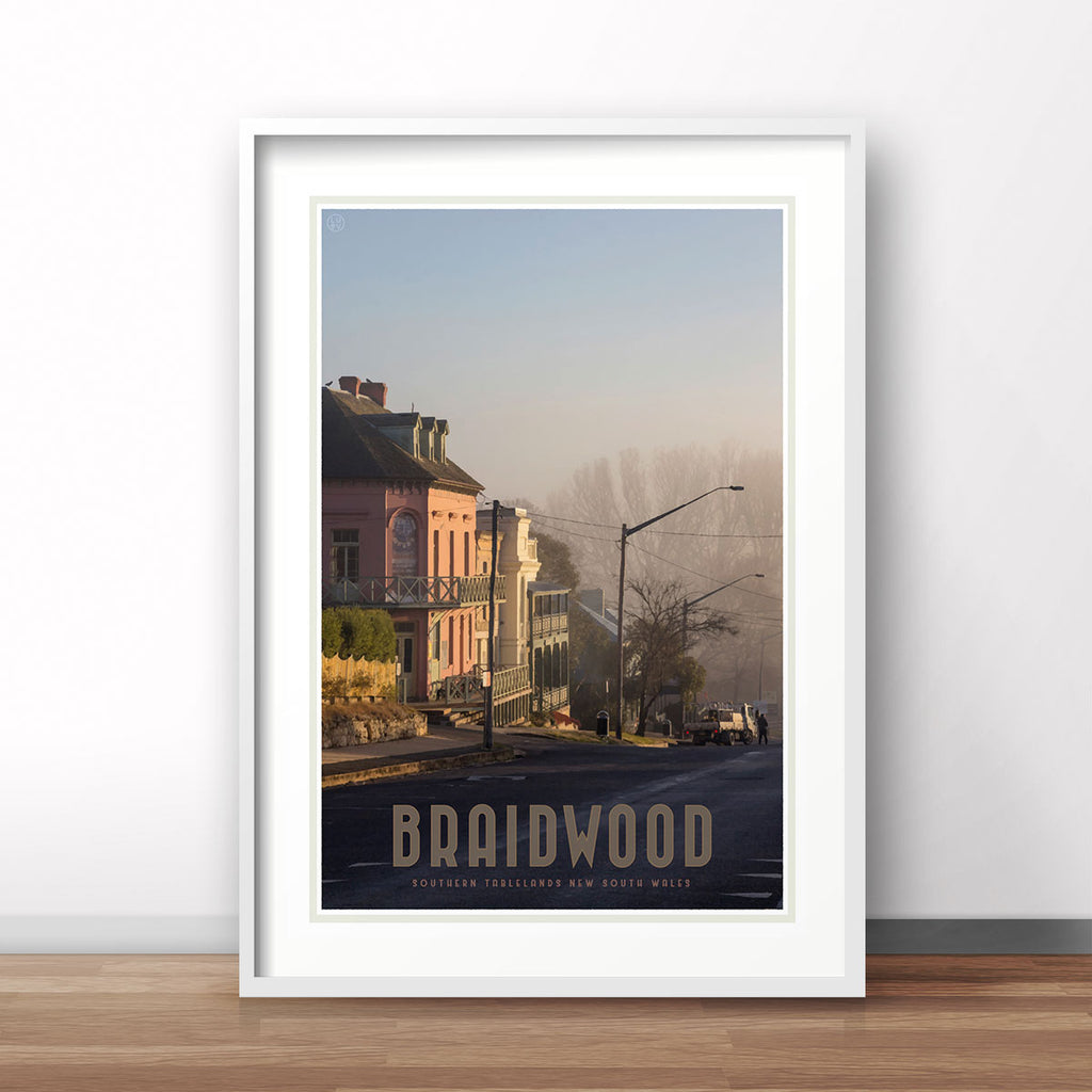 Braidwood Street vintage travel style poster. Original design Places We Luv