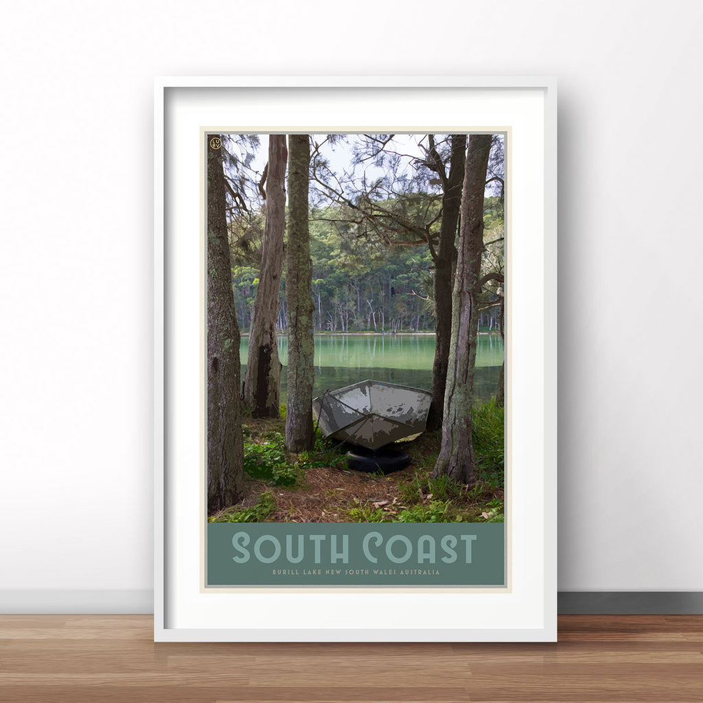 South Coast print, vintage travel style designed by Places We Luv