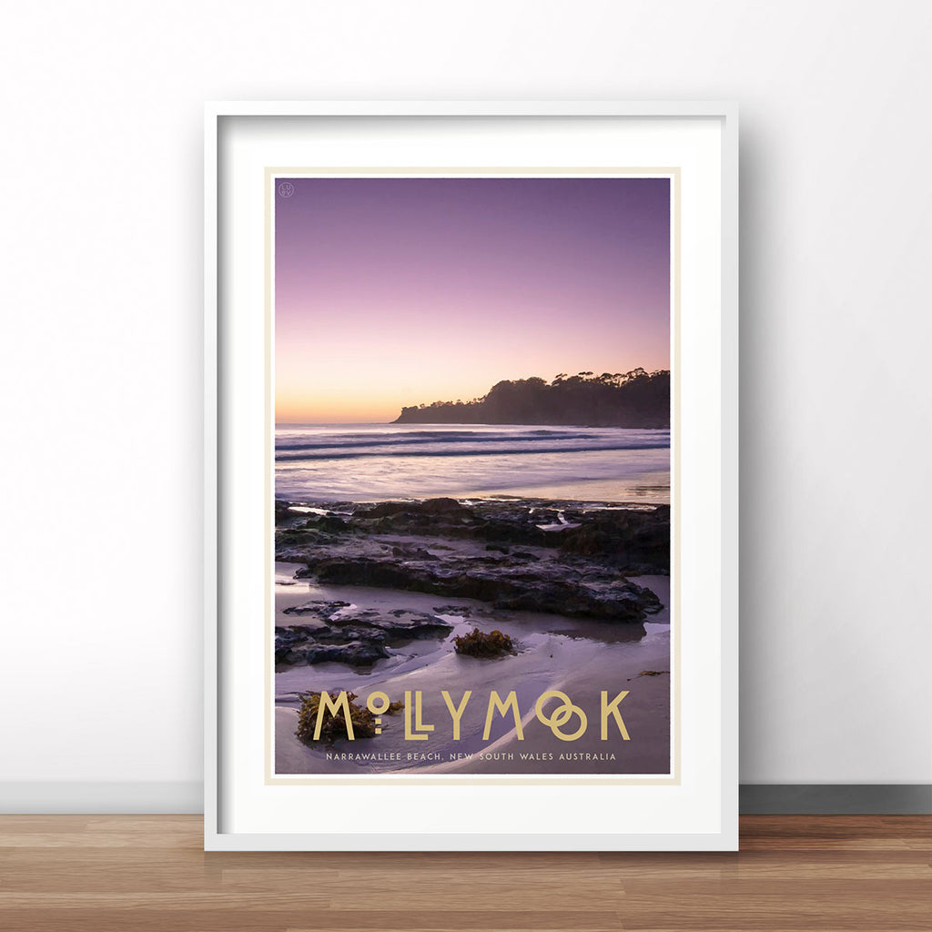 Mollymook white framed print vintage travel poster style. Original design by Places We Luv