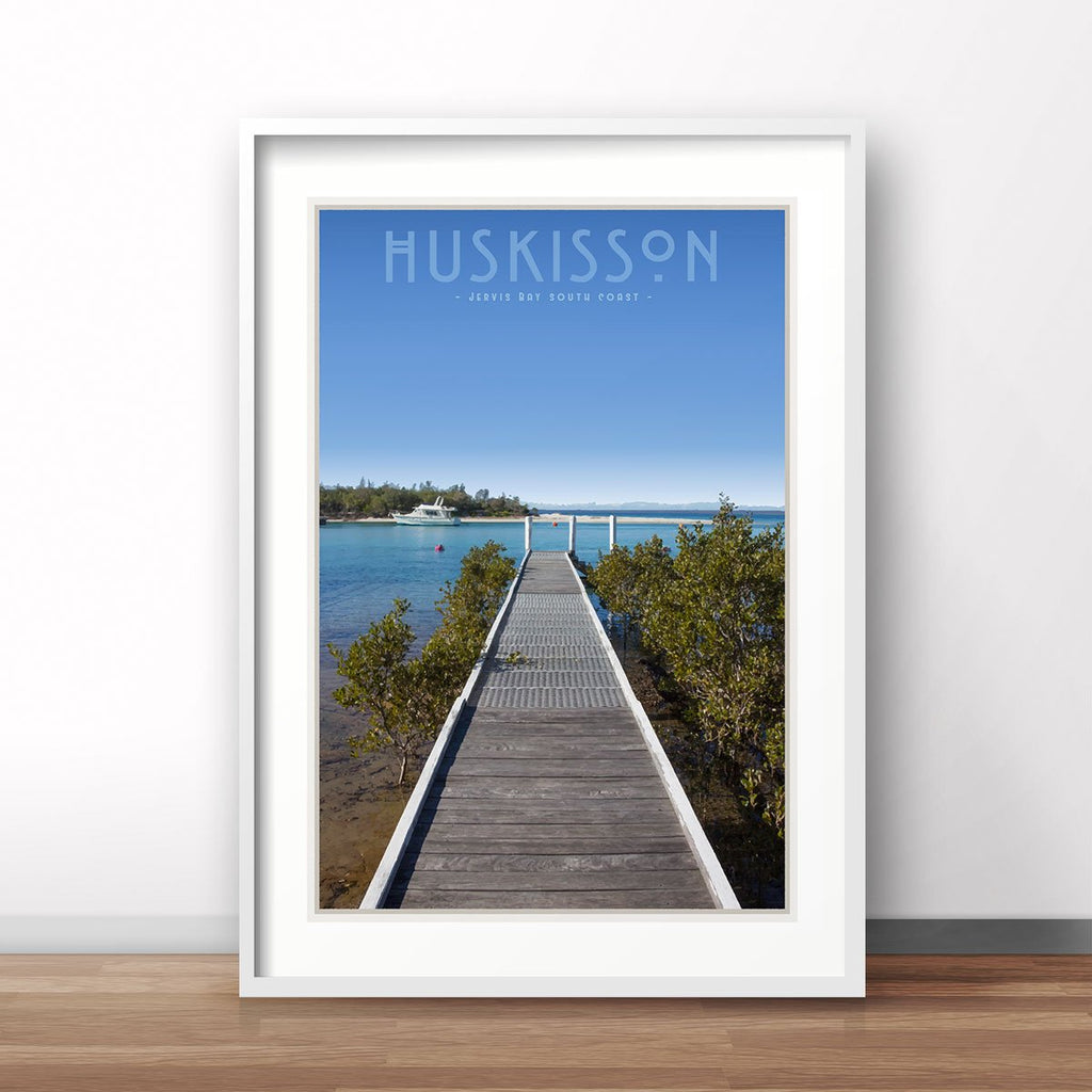 Huskisson vintage travel style white framed print by places we luv