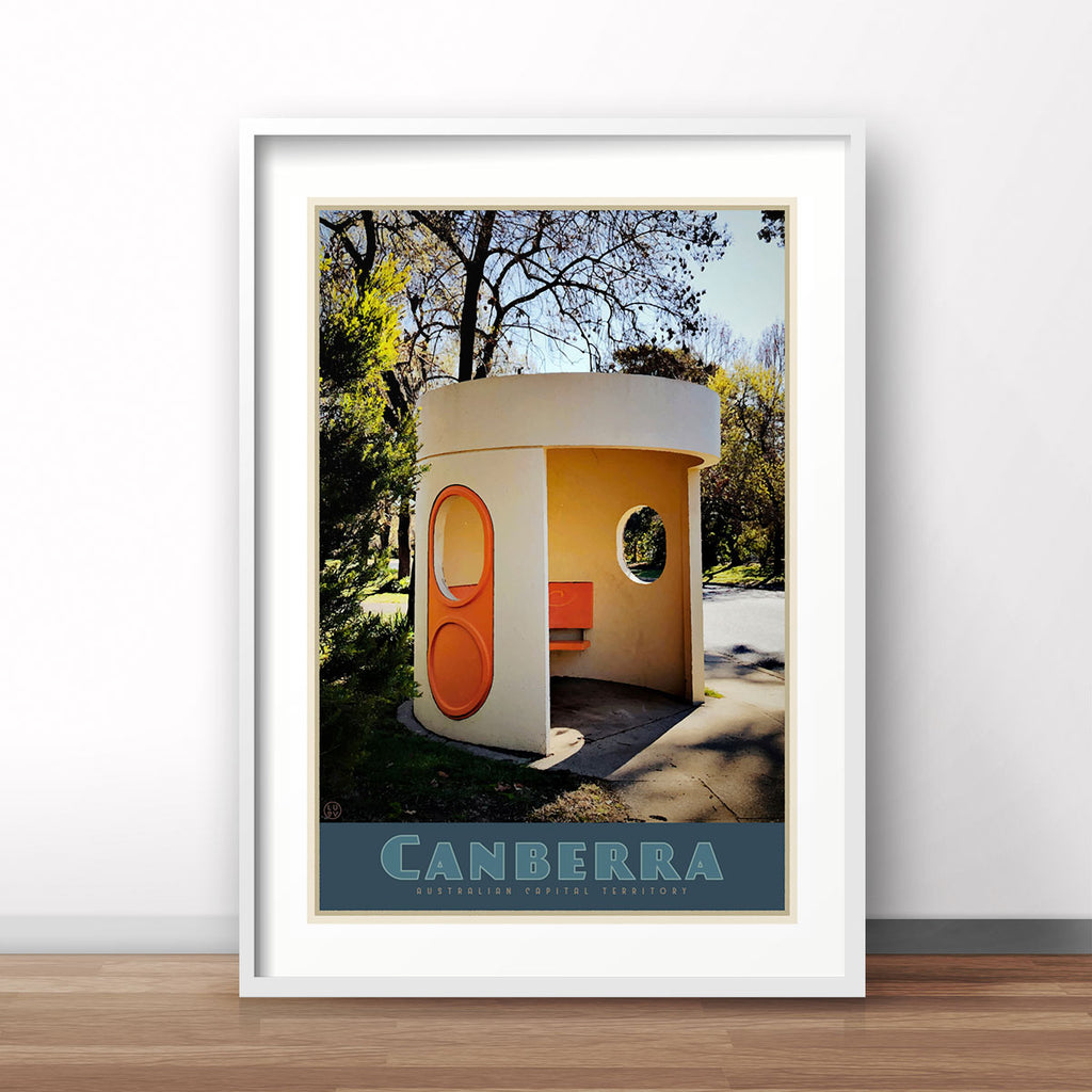 Canberra busstop white framed vintage travel poster. Original design by Places we luv