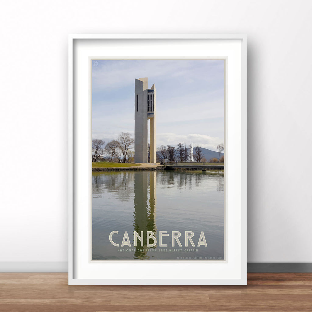 Canberra Lake Burley Griffin vintage style travel print by placesweluv