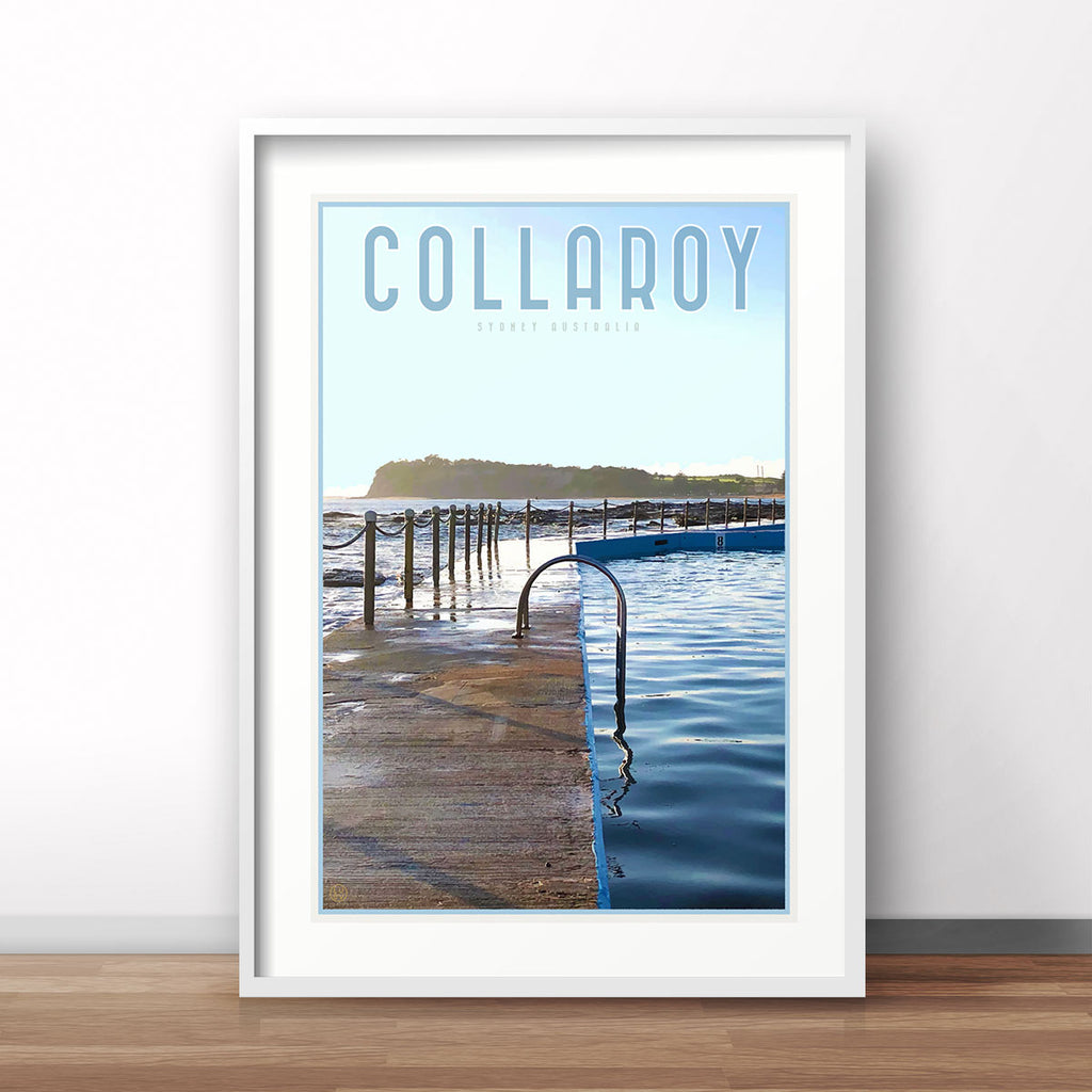 Collaroy Pool Print - vintage travel style by Places we Luv