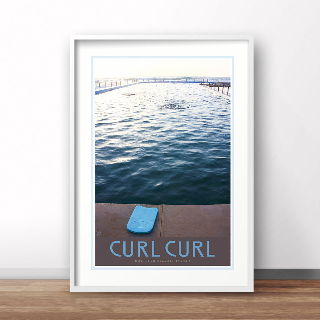 Curl curl pool framed print. Vintage travel style by places we luv